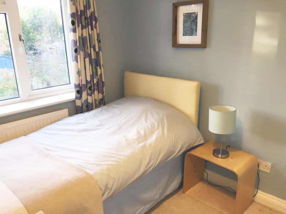 Cosy single bedroom. Includes antique pine dressing table with draws and large mirror.