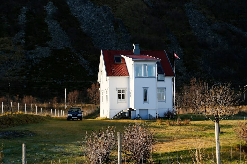 Villa Lofoten with the mountain back behind.