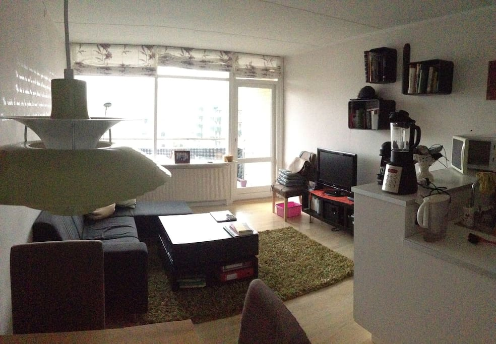 This is the flat's living room, as seen from the dining table