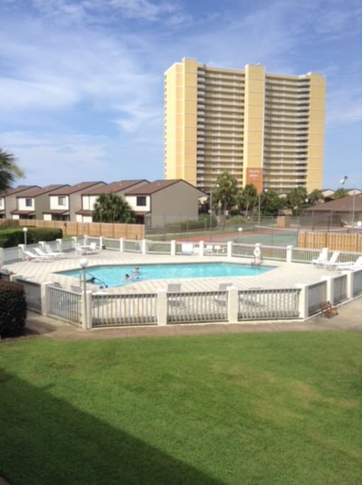View of pool from balcony.