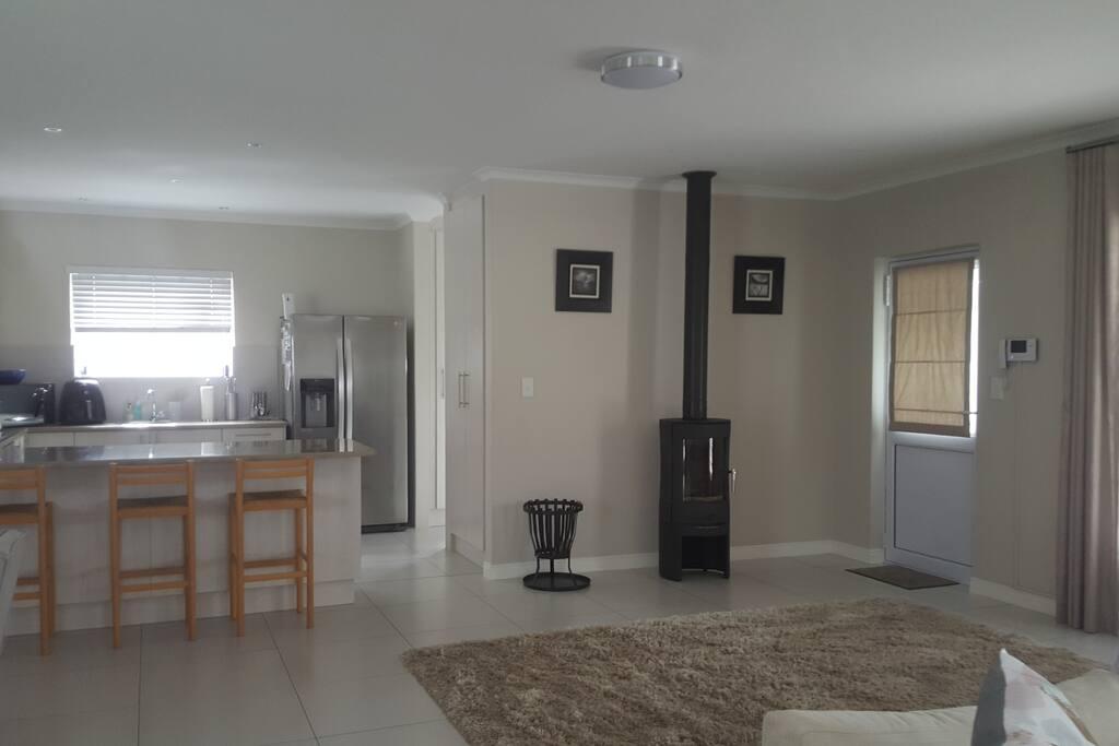 Indoor fireplace area