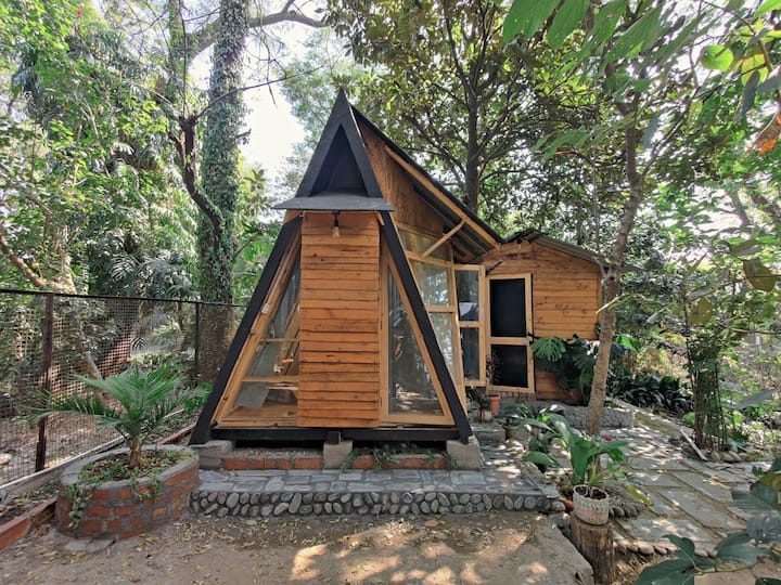 """Luxurious & Cozy """"A"""" Shaped Wooden Hut"""