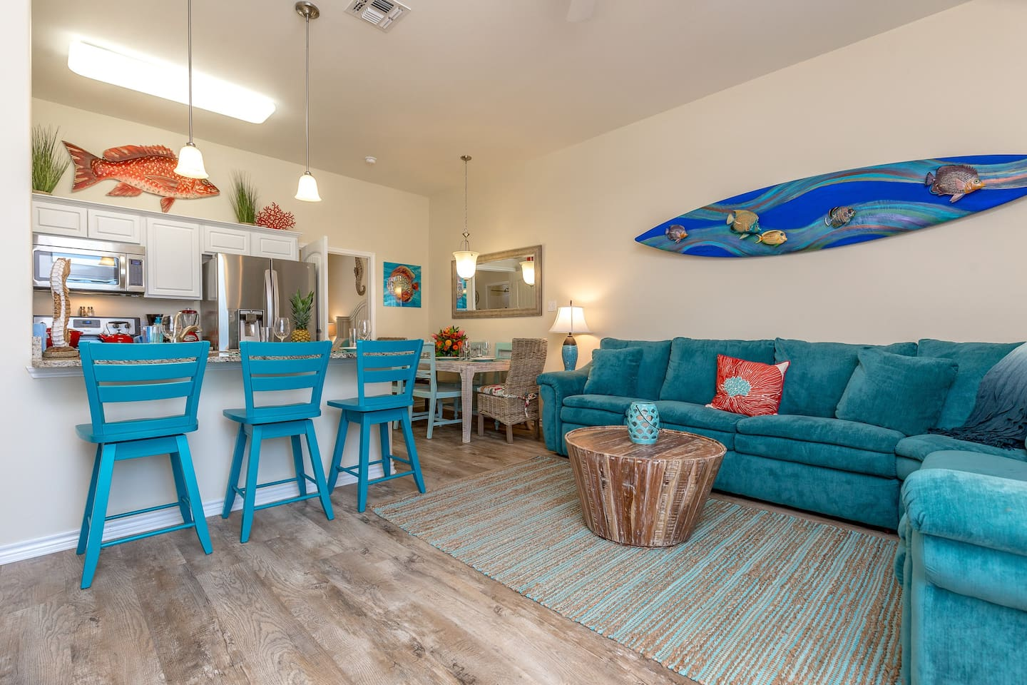 Bright blue decor reminds you that the beach is just a half-mile away.