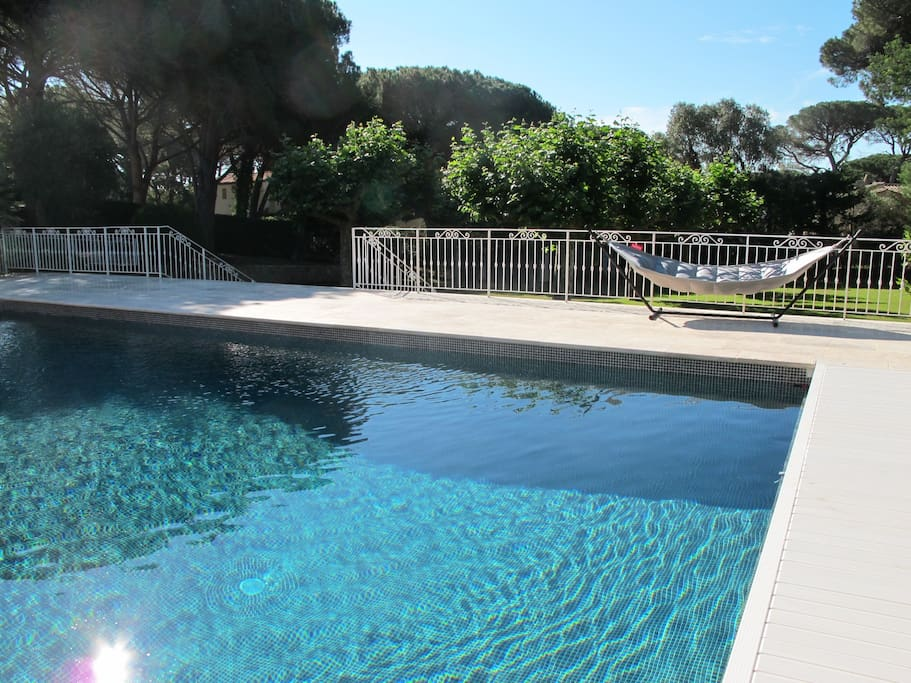 The 13 metre pool with integrated automatic cover and large grass garden below with direct access to the beach