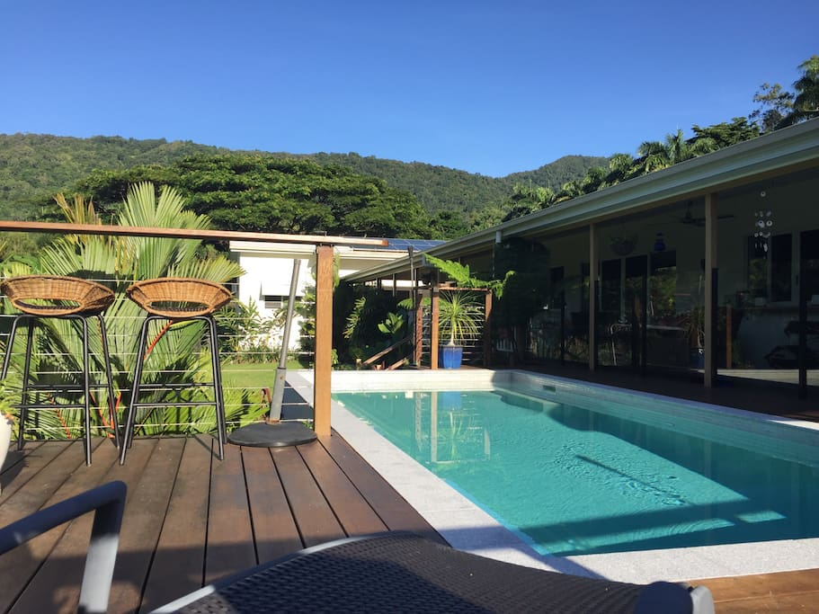 Looking towards to MacAlister Range from the comfort of your poolside deck chair in paradise!