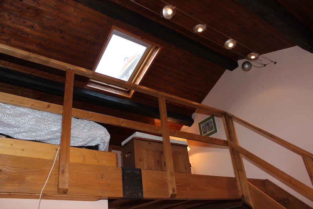Loft space from below & skylight