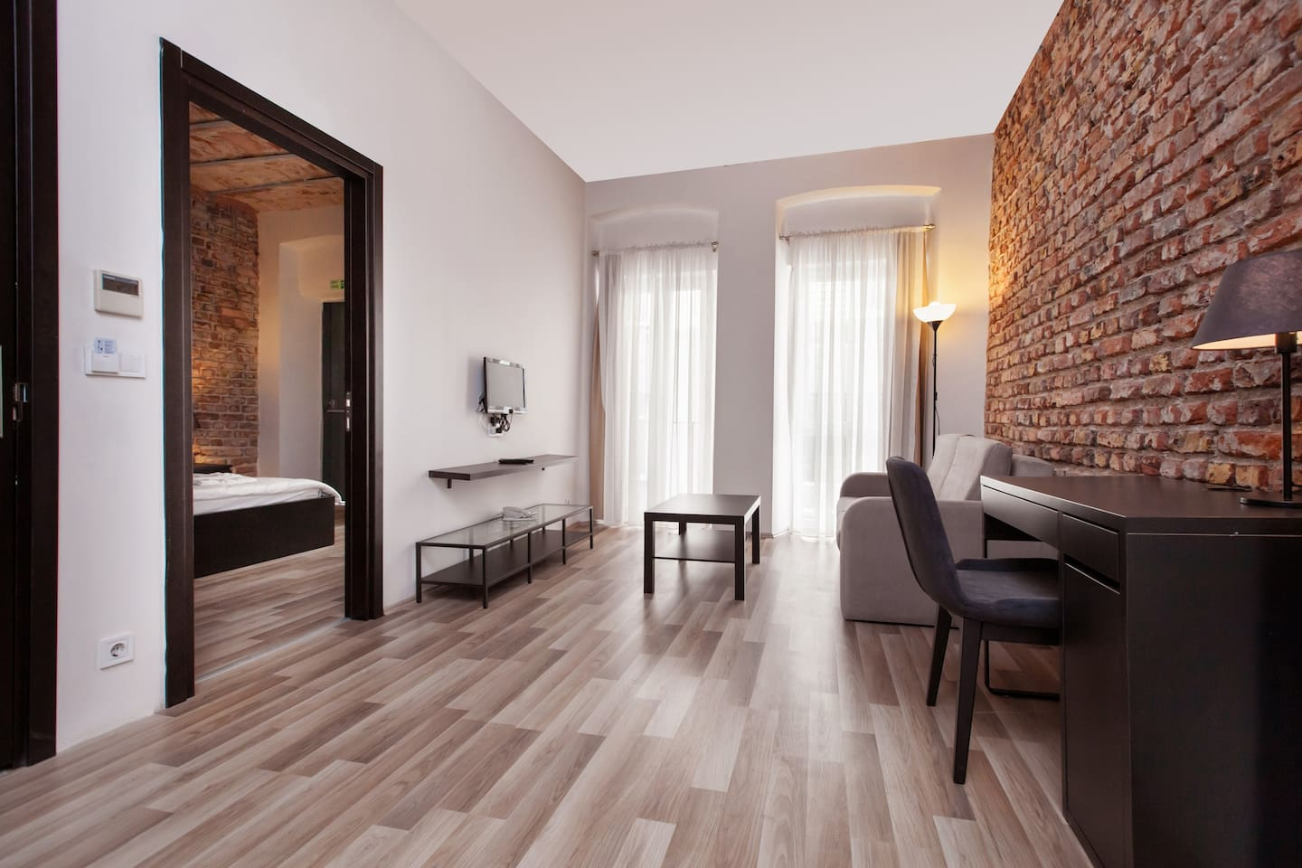 renovated historical building with modern decor..