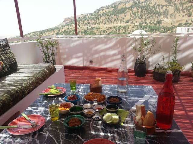enjoy your lunch or dinner on the roof terrace, views of the mountains and Volubilis