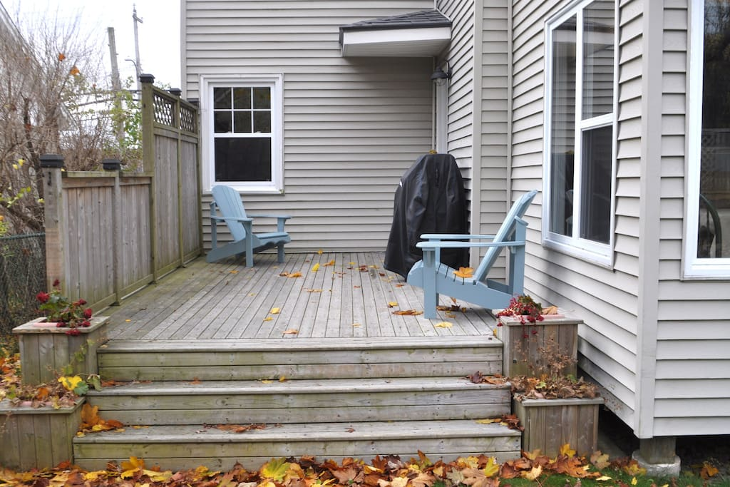 The back deck and main entry door.