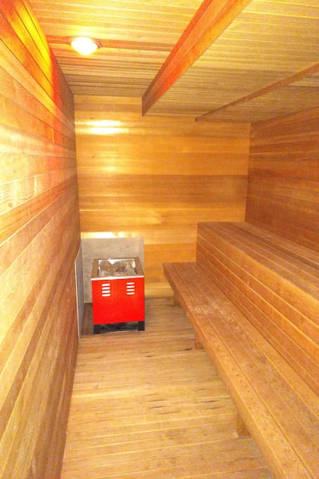 Relax and sweat it all out in the 8 person sauna in the cellar The CasaGrotto.
