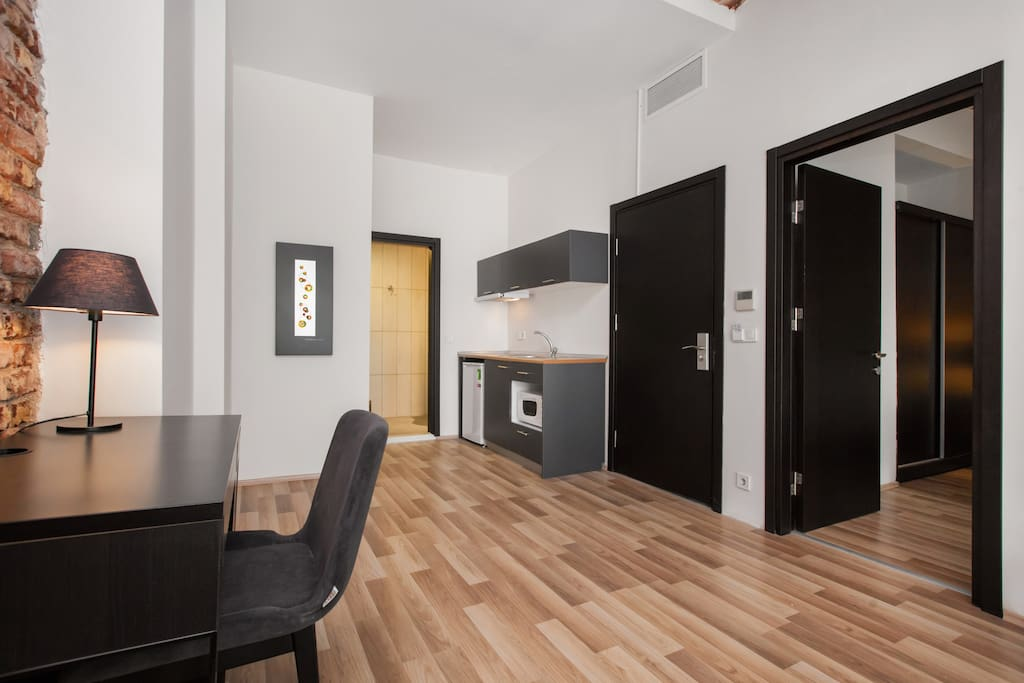 large living area and kitchenette..