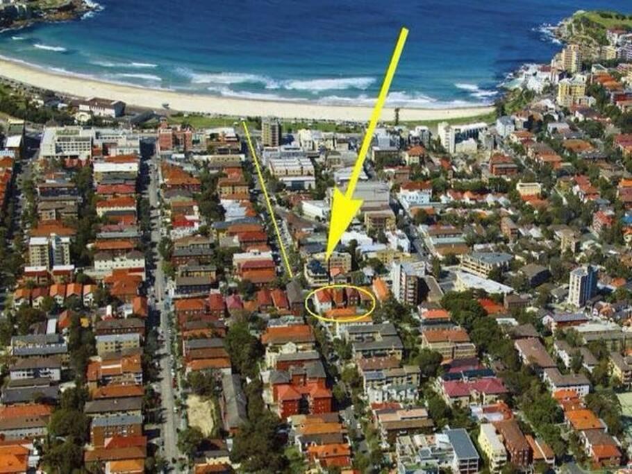 5 min level walk to Bondi Beach
