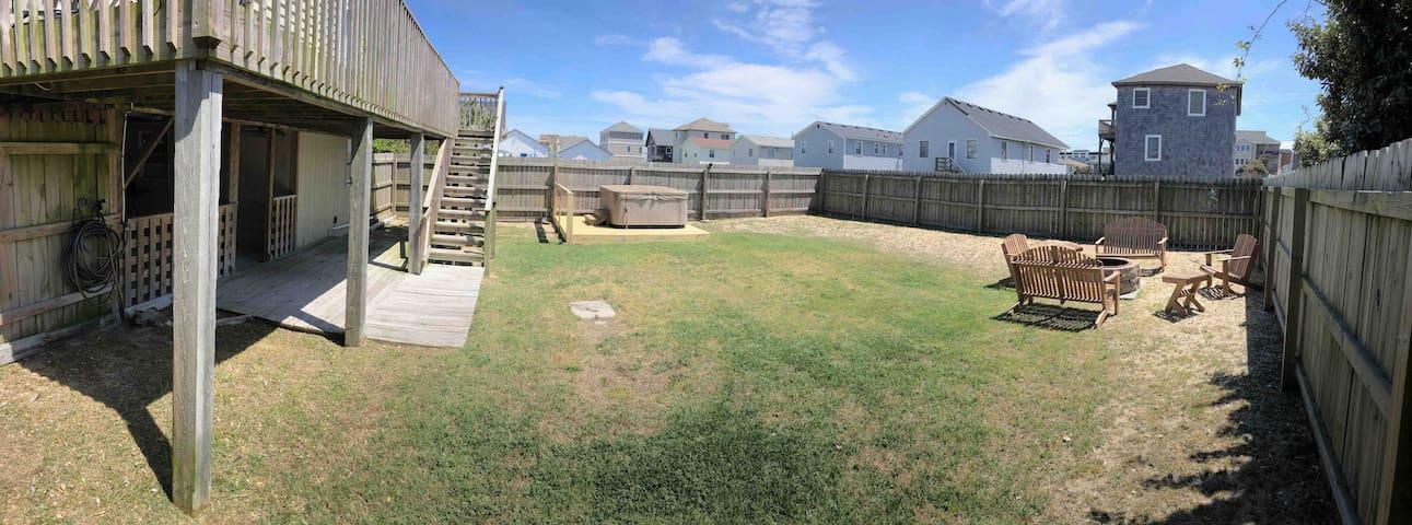 Back yard and hot tub