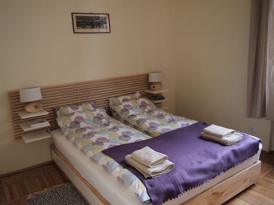 Bedroom with large comfortable double bed