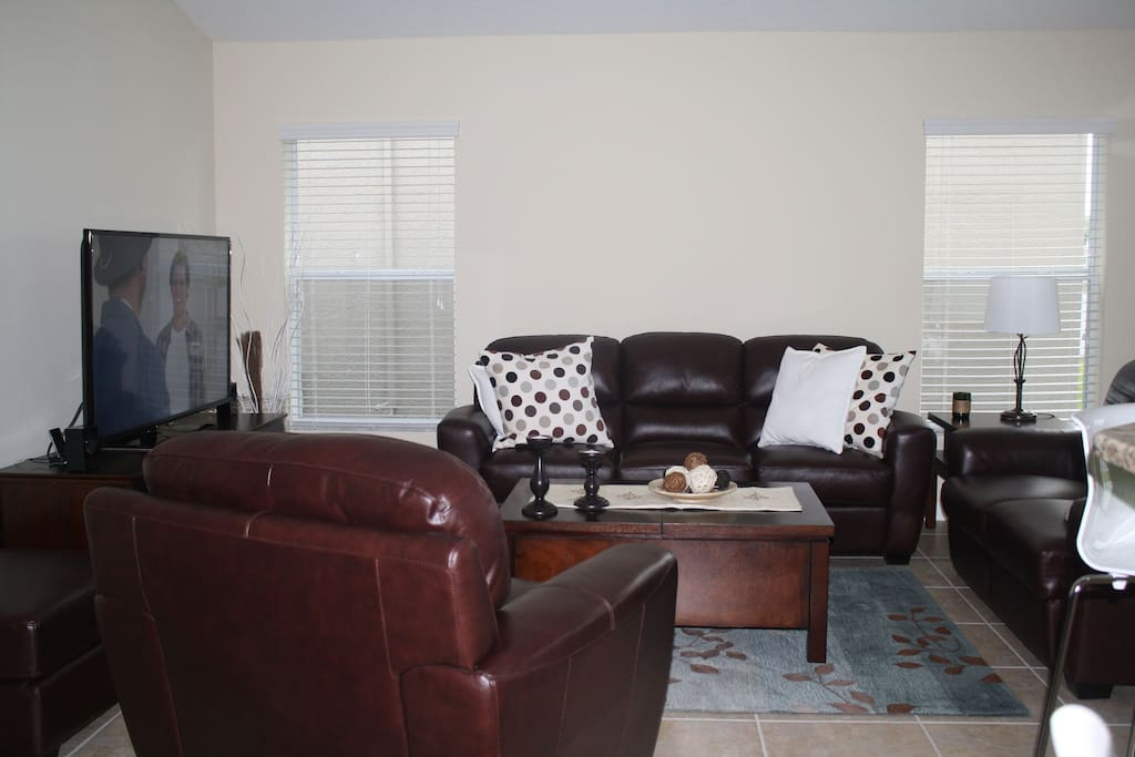 Open Living Area with 55in HDTV LED & DVR