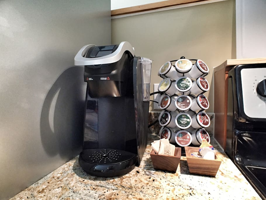 Keurig with assorted coffees provided