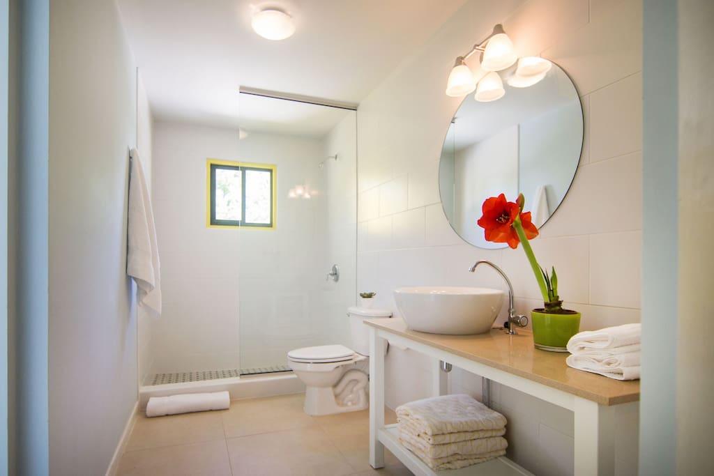 Fresh and modern bathroom with Aruba Aloe toiletries and fresh towels every third day.