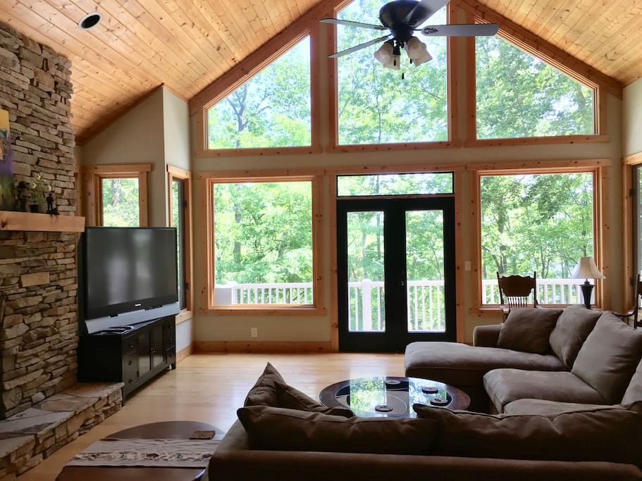 Beautiful custom built Mountain Lake Home with Log type interior touches and relaxing decor.  Close to Clemson, on Lake Hartwell with private double decker dock.