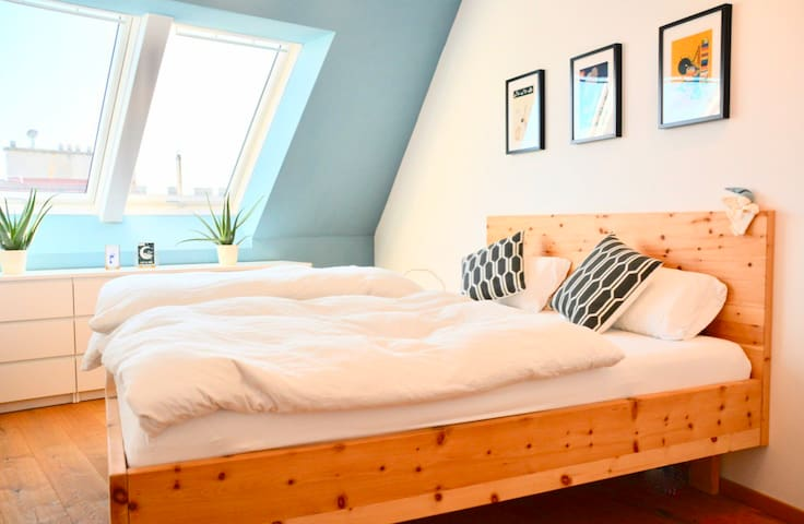 """Wooden bed (180x200) with brand new mattresses (never used before). Bed is made from wood from """"Zirbe"""" which slows down your heartbeat and ensures a recovering deep sleep."""