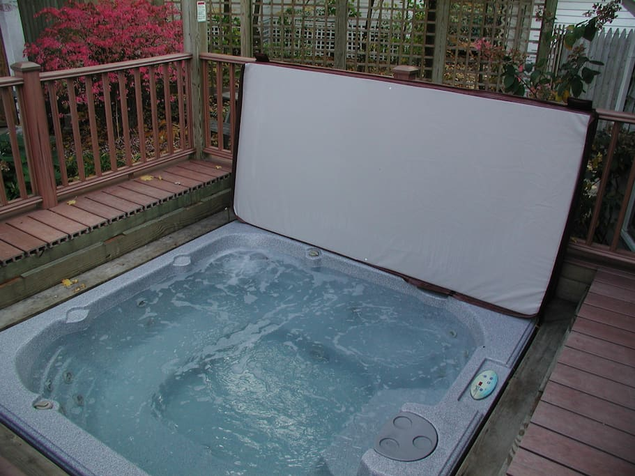 Hot tub is available during the Fall, Winter and Spring months at the Beach House at Lakeside, Mi.