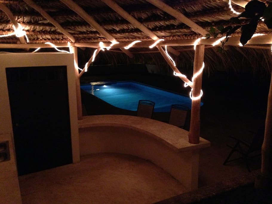 Night view of pool from Rancho