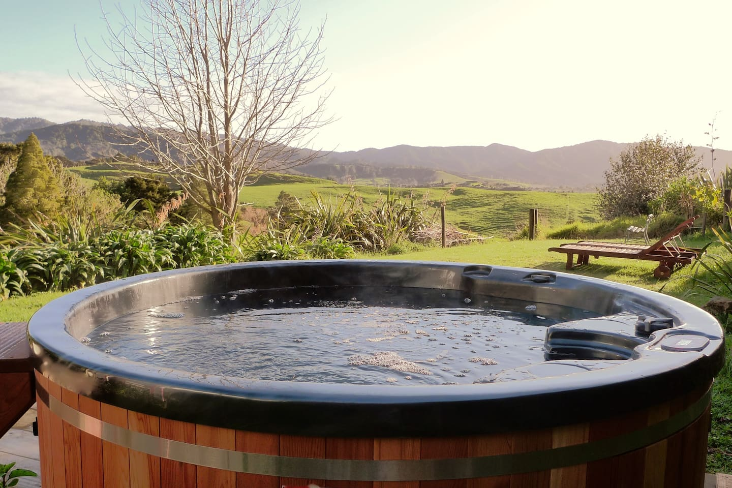 hot tub overlooking the Brynderwyns