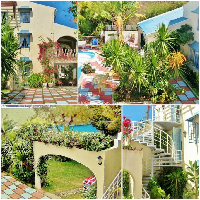 Vue exterieur bungalows, jardin tropical, piscine