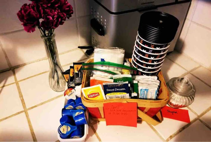 The Welcome Basket: with complimentary tea, hot cocoa, snacks and more! Freshly brewed coffee is provided, as well, each morning.