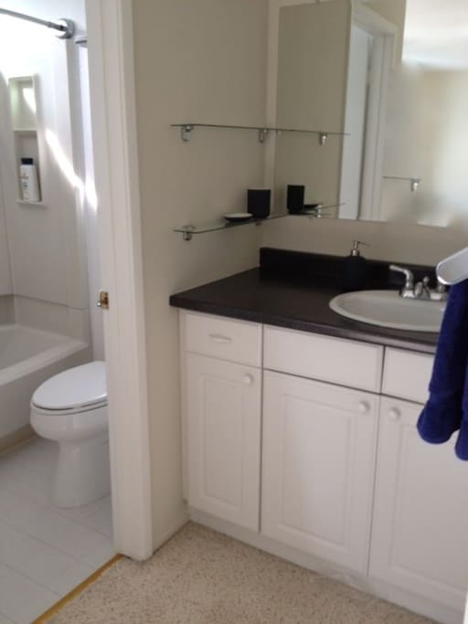 Each master bath has a roomy sink area separate from shower & toilet area.