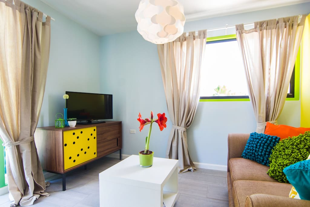 Comfortable living area in your Studio close to Eagle Beach.