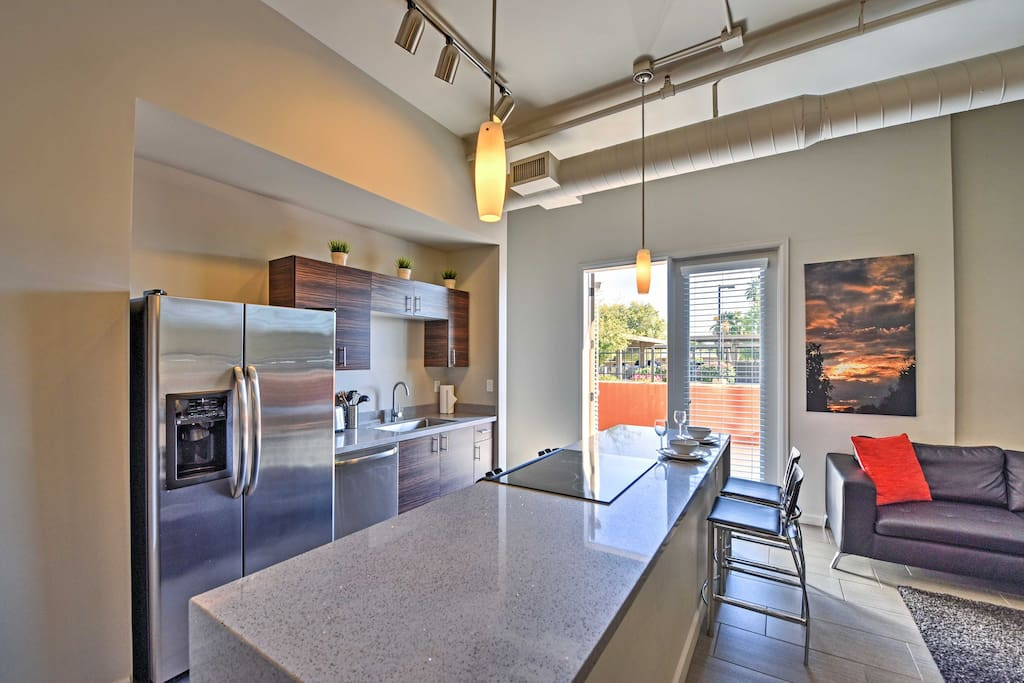 The fully equipped kitchen has everything you need to prepare a romantic dinner for two.