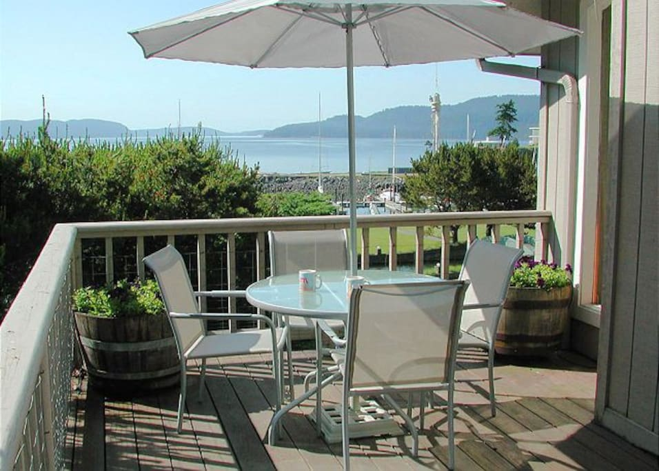 There are three decks at SeaWatch, all with amazing views of Cascade Bay and Rosario Resort's park like grounds.