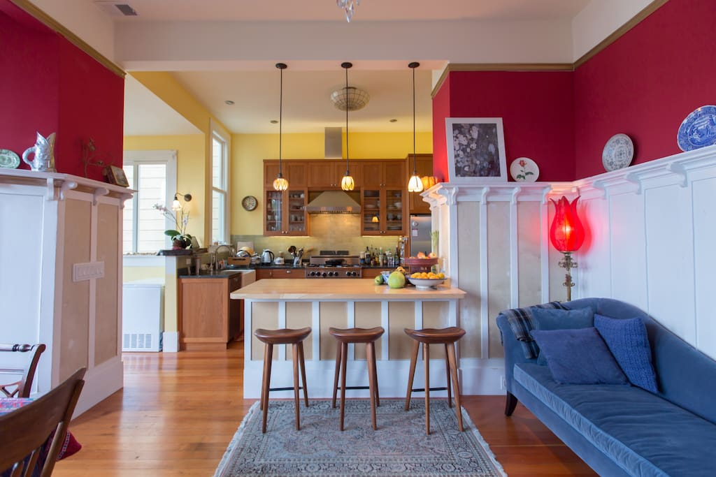Open floorplan of dining room and kitchen feels spacious.