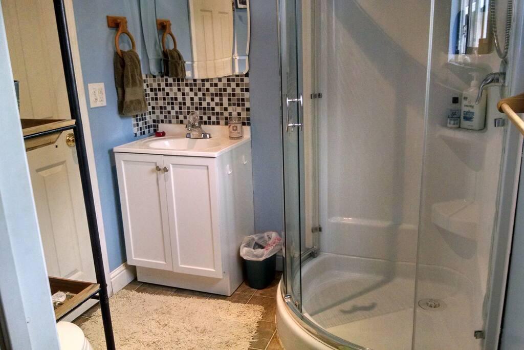 Private bathroom, glass shower