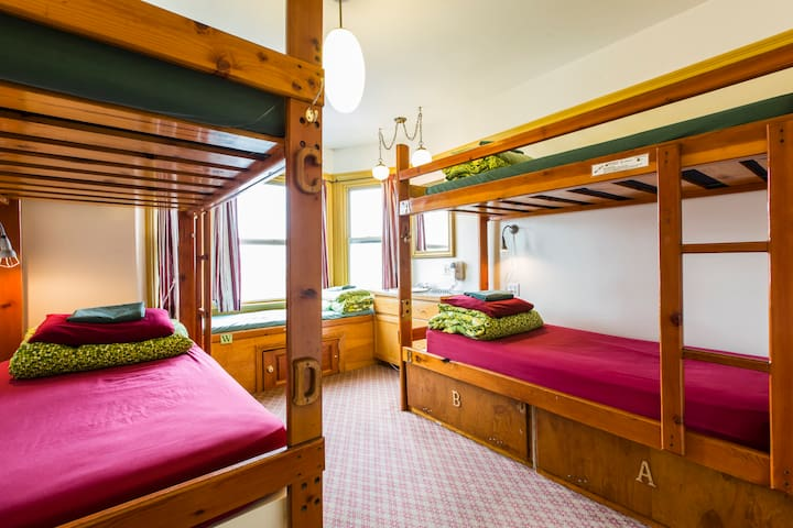 Our dorm rooms range from 4-9 beds