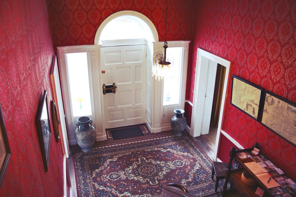 Looking down at the front door - original features from the 1720-ies give Dollardstown plenty of character.