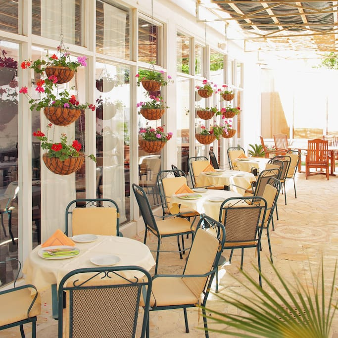 The outdoor Terrace Restaurant where you can have your breakfast