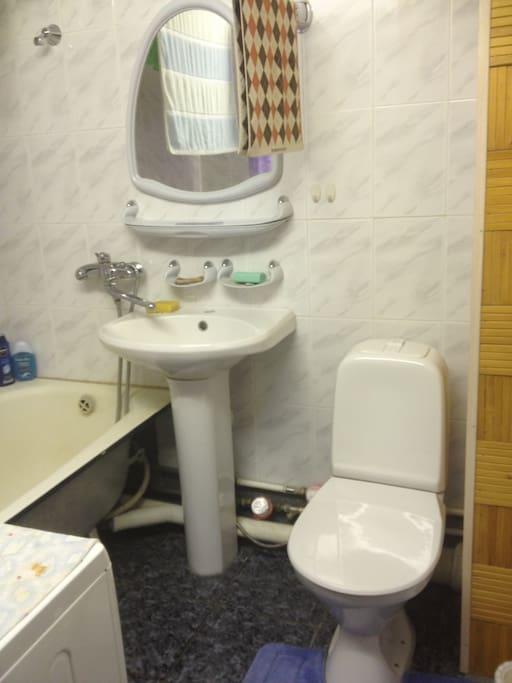 Ванная комната совмещена с туалетом. Также в ванной комнате находится стиральная машина. Гостям предоставляются шампунь, мыло, средства для стирки белья, полотенца.