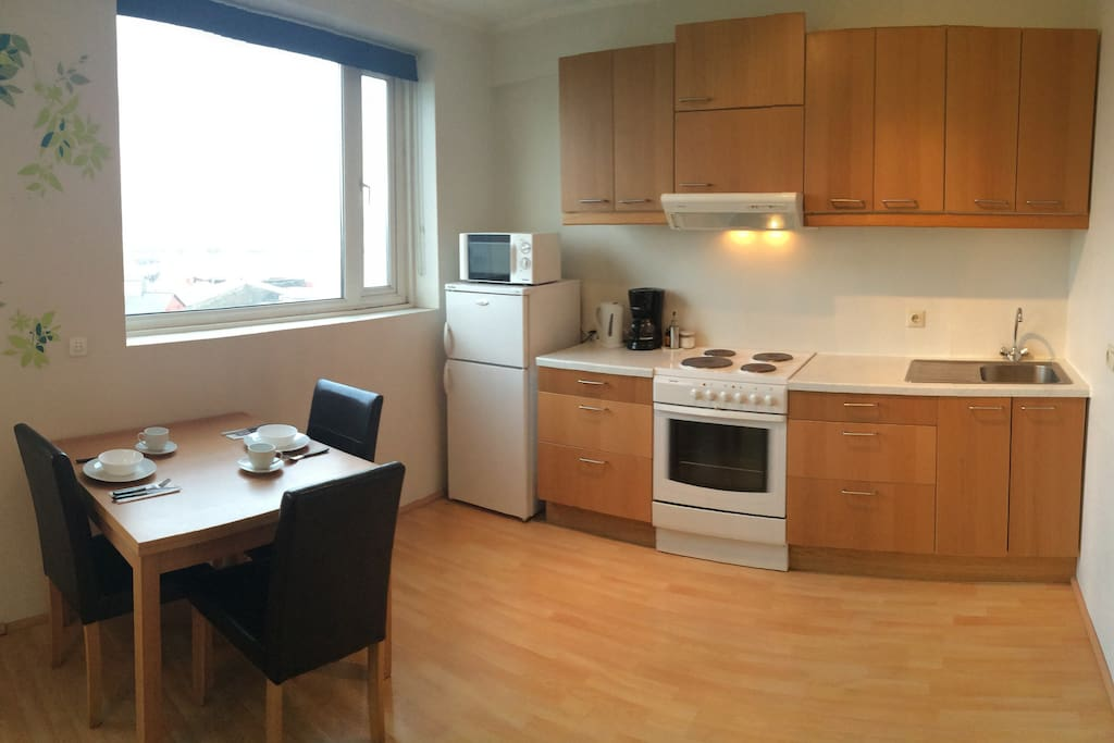 Full equipped kitchen with fridge,  microwave, oven, kettle (boiler), coffee machine, toaster etc...