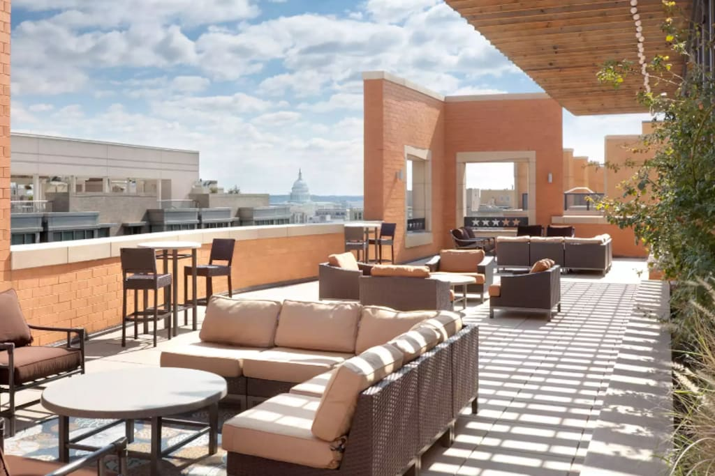 One of many rooftop seating areas