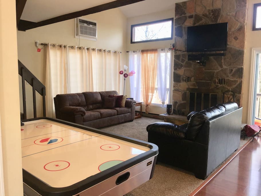 Living room with new hockey game