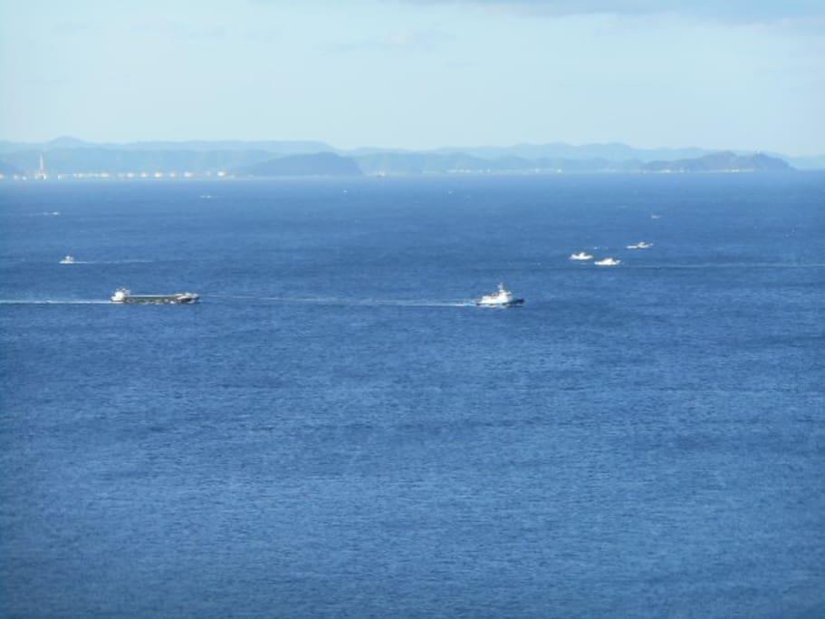 バーベキューをしながら加太の海を臨む