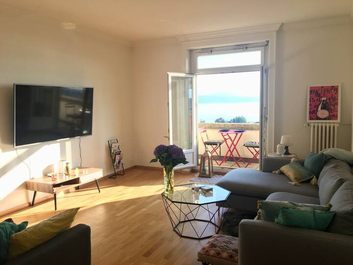 Beautiful apartment with panoramic lake views