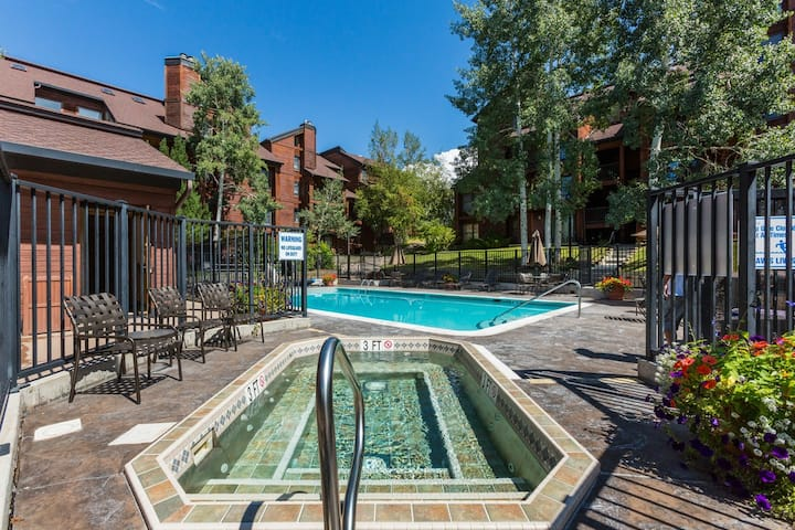 Deluxe condo w/private patio & shared pool, hot tub, & winter shuttle!