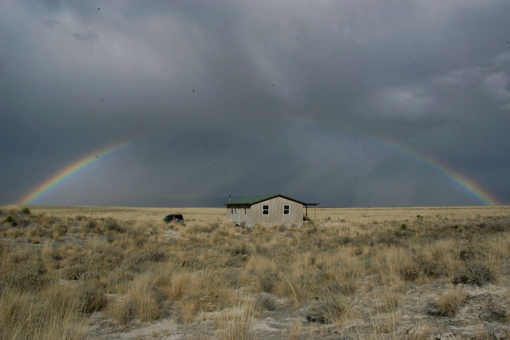 Little house in the desert. This huge rainbow was seen on Thanksgiving, 2008.