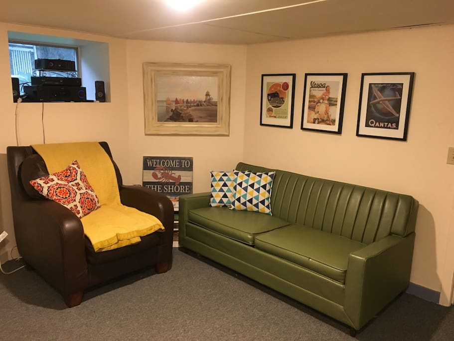 Sitting area and pullout couch