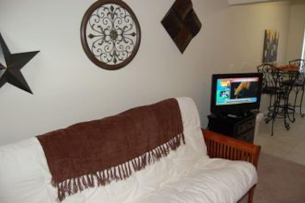 Oak Shores Studio  30-Living Room TV