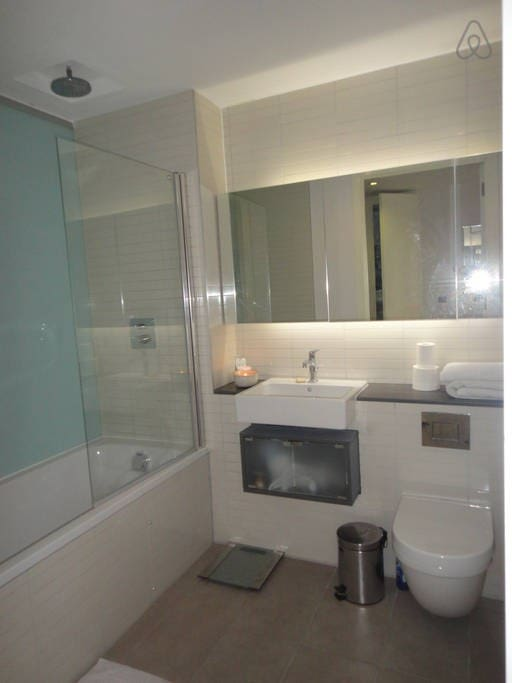 First bathroom, with high pressure large shower head, bath, plus usual fixtures and some storage.