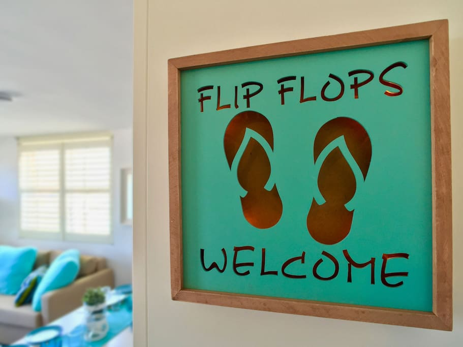 Welcome sign at the door!