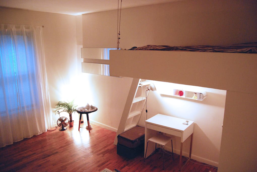 Comfortable full size Loft bed and small desk